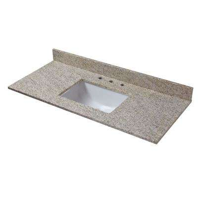 49 in. W x 22 in. D Granite Vanity Top in Golden Hill with White Trough Basin