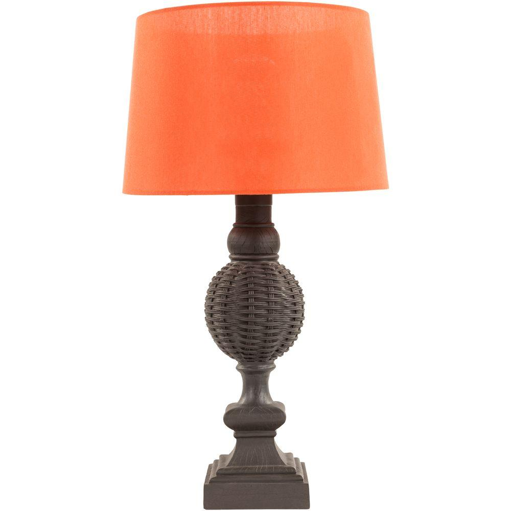 Black Indoor/Outdoor Table Lamp With Coral Shade