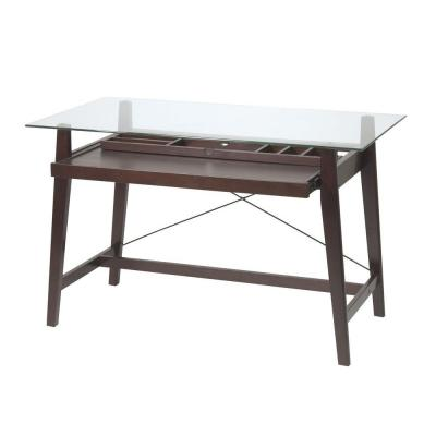 42 in. Rectangular Espresso Computer Desk with Solid Wood Material