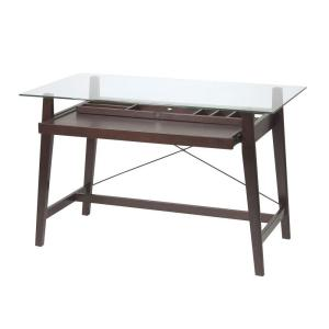 OSPdesigns Glass Top and Espresso Base Desk by OSPdesigns