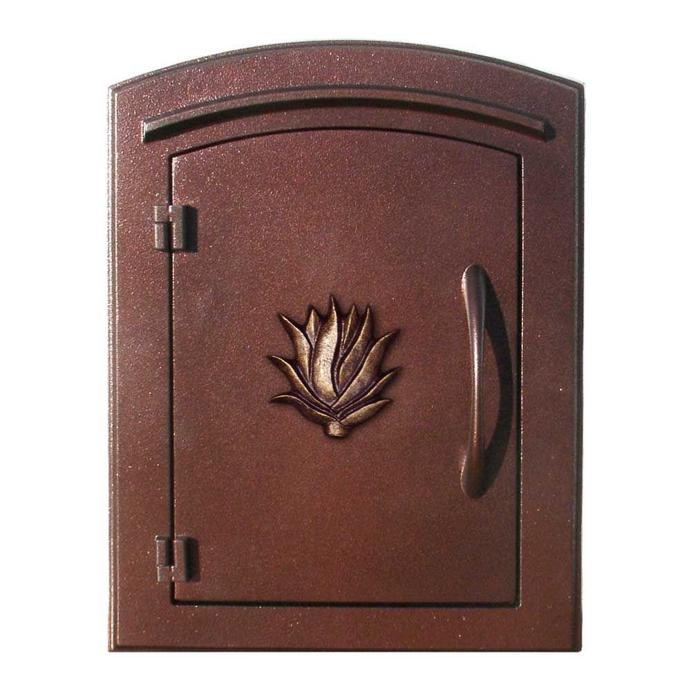 Antique Copper Non-Locking Column Wall Mount Mailbox