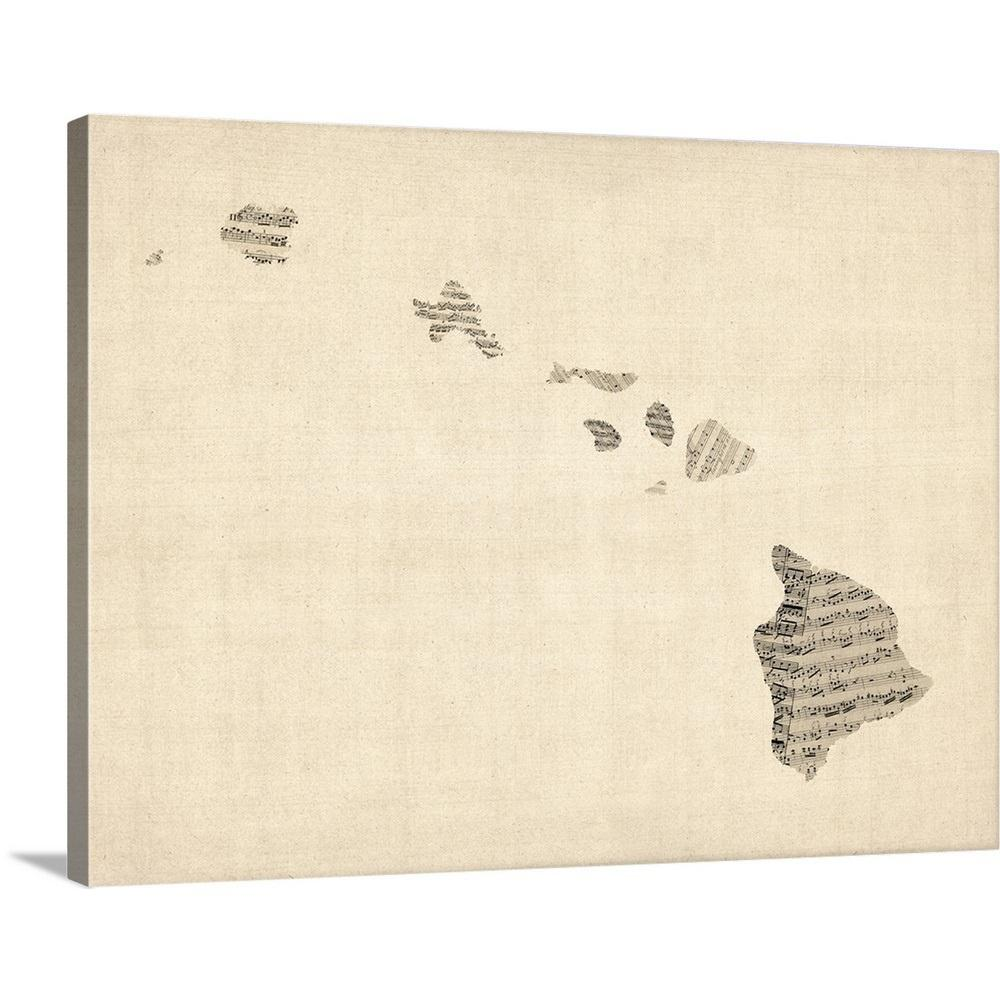 Greatbigcanvas old sheet music map of hawaii by michael - Michael in the bathroom sheet music ...