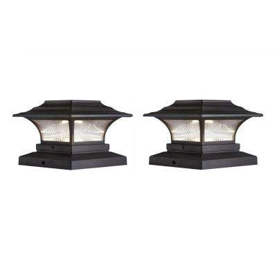 Solar 4 In X Bronze Outdoor Integrated Led Deck Post Light With 6 Adapter 2 Pack
