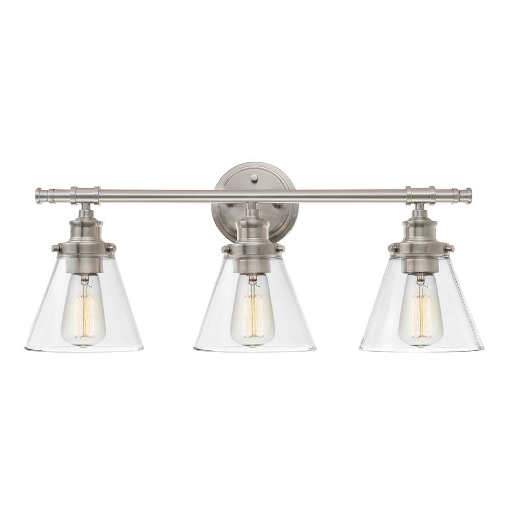 Globe Electric Parker 3 Light Brushed Nickel Vanity Light With Clear