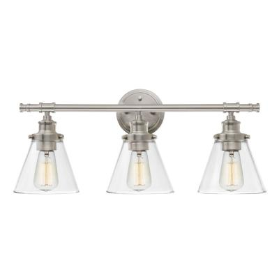 Parker 3-Light Brushed Nickel Vanity Light with Clear Glass Shades