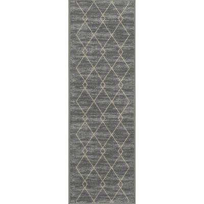Studio Collection Diamond Trellis Design Grey 2 ft. x 5 ft. Non-Skid Runner Rug