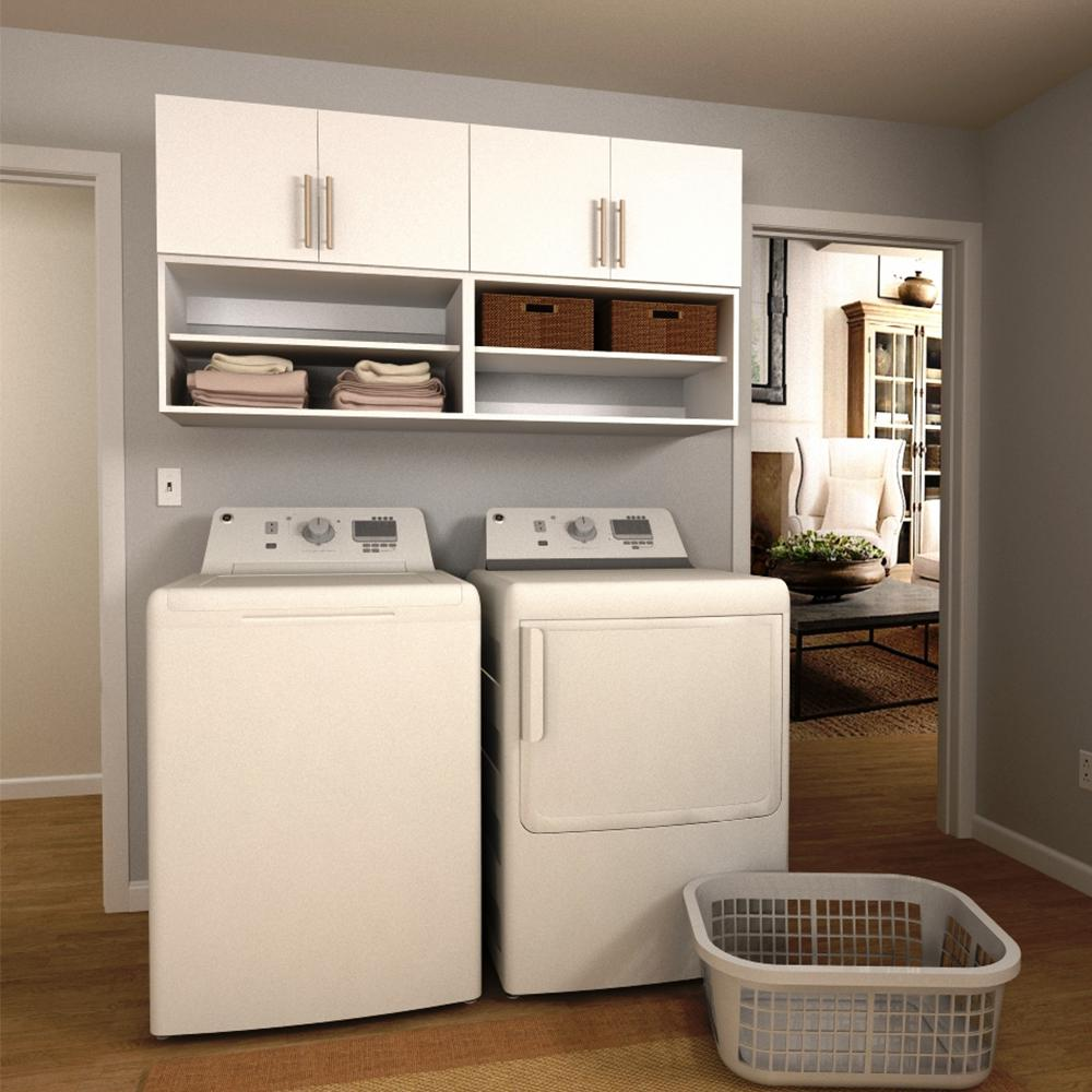 W White Open Shelves Laundry Cabinet Kit
