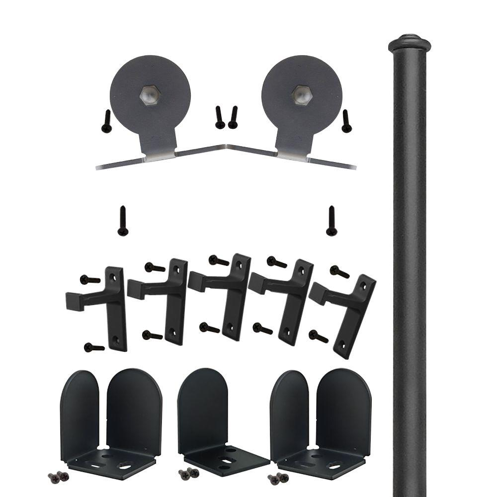 Quiet Glide 1-1/2 in. - 2-1/4 in. Top Mount Black Rolling Door Hardware Kit