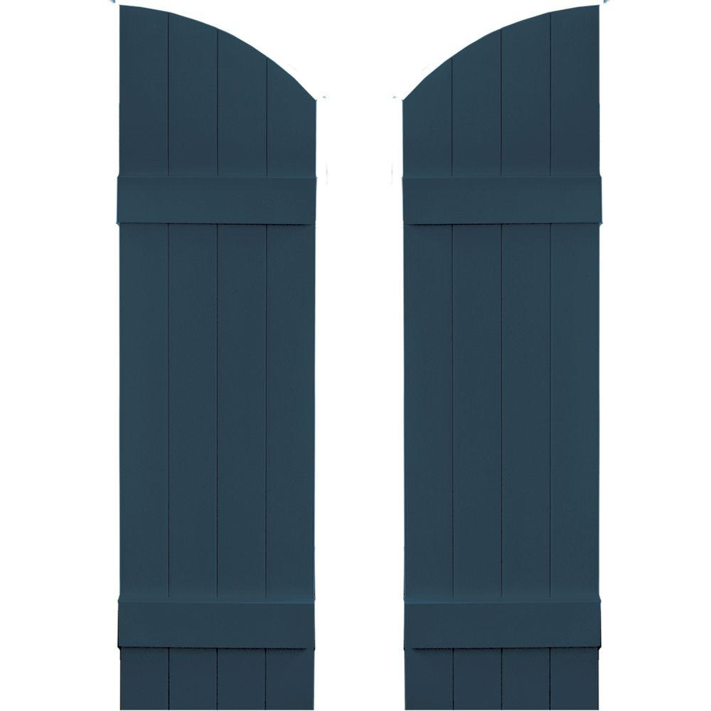 Builders Edge 14 in. x 45 in. Board-N-Batten Shutters Pair, 4 Boards Joined with Arch Top #036 Classic Blue