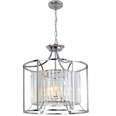 Cecilia 4-Light Polished Chrome Cage Chandelier with Crystal Shade