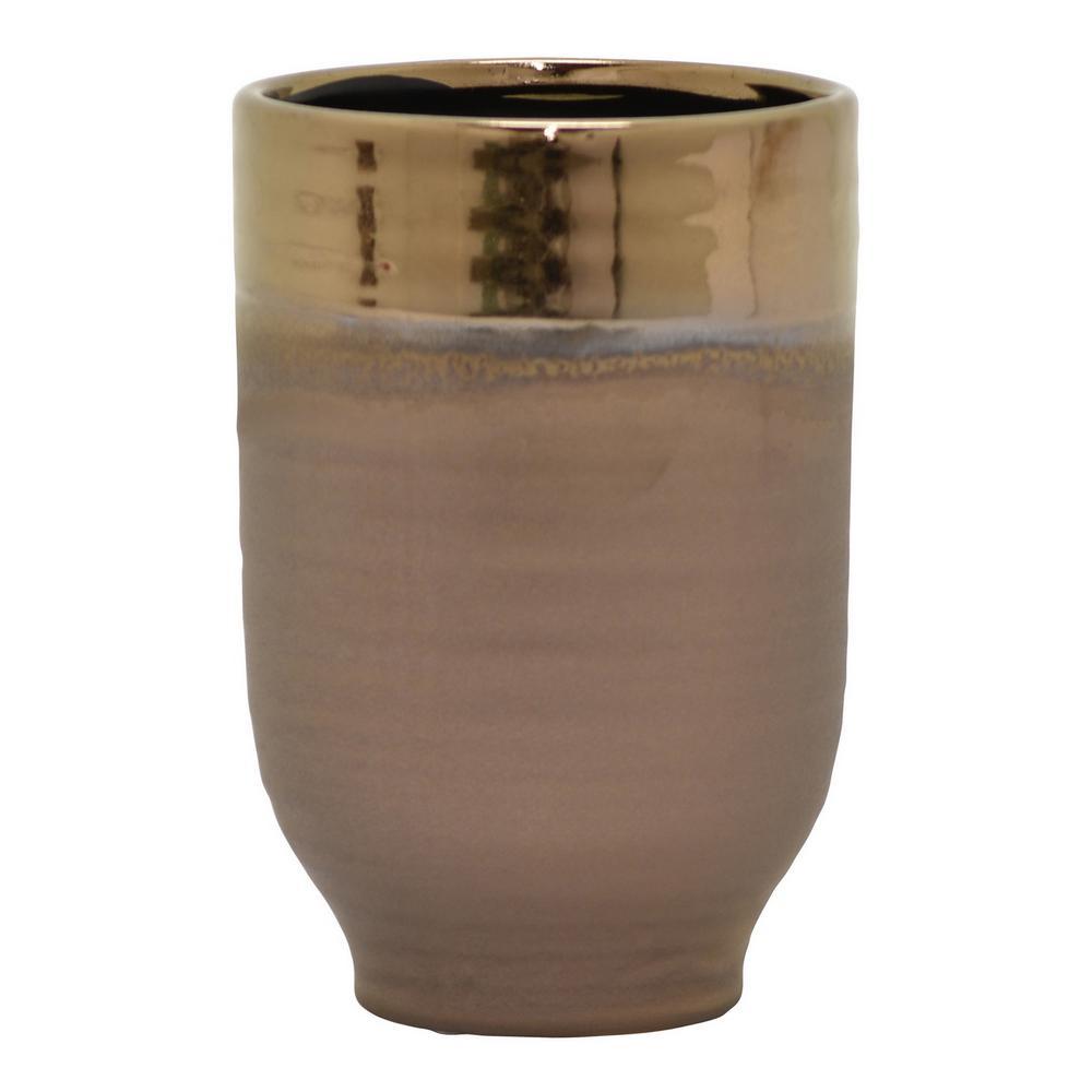 7.75 in. Ceramic Vase in Bronze