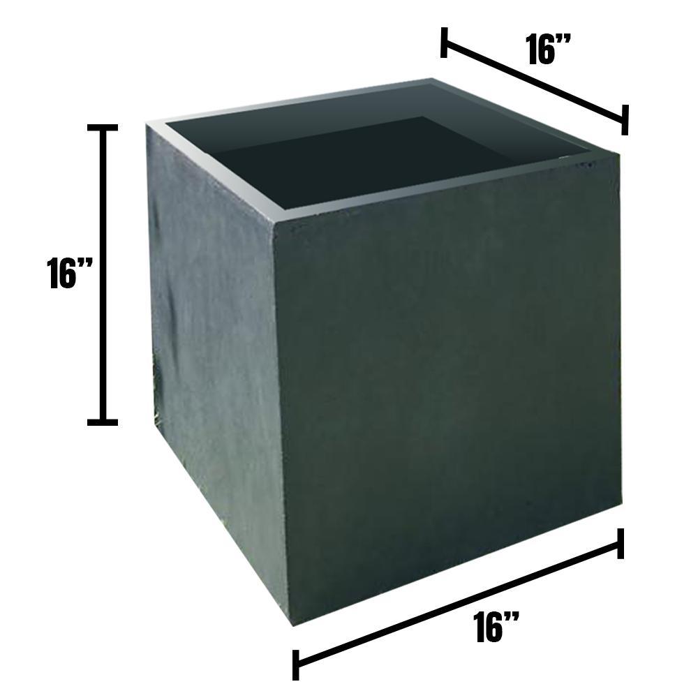Large 15.7 in. x 15.7 in. x 15.7 in. Granite Lightweight Concrete Modern Square Planter
