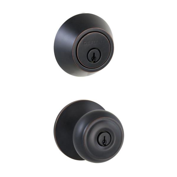 Hartford Aged Bronze Entry Knob and Double Cylinder Deadbolt Combo Pack