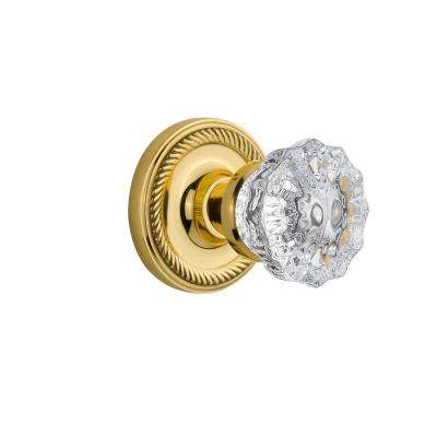 Rope Rosette Single Dummy Crystal Glass Door Knob in Polished Brass
