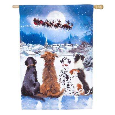 28 in. x 44 in. Christmas Dogs House Satin Flag
