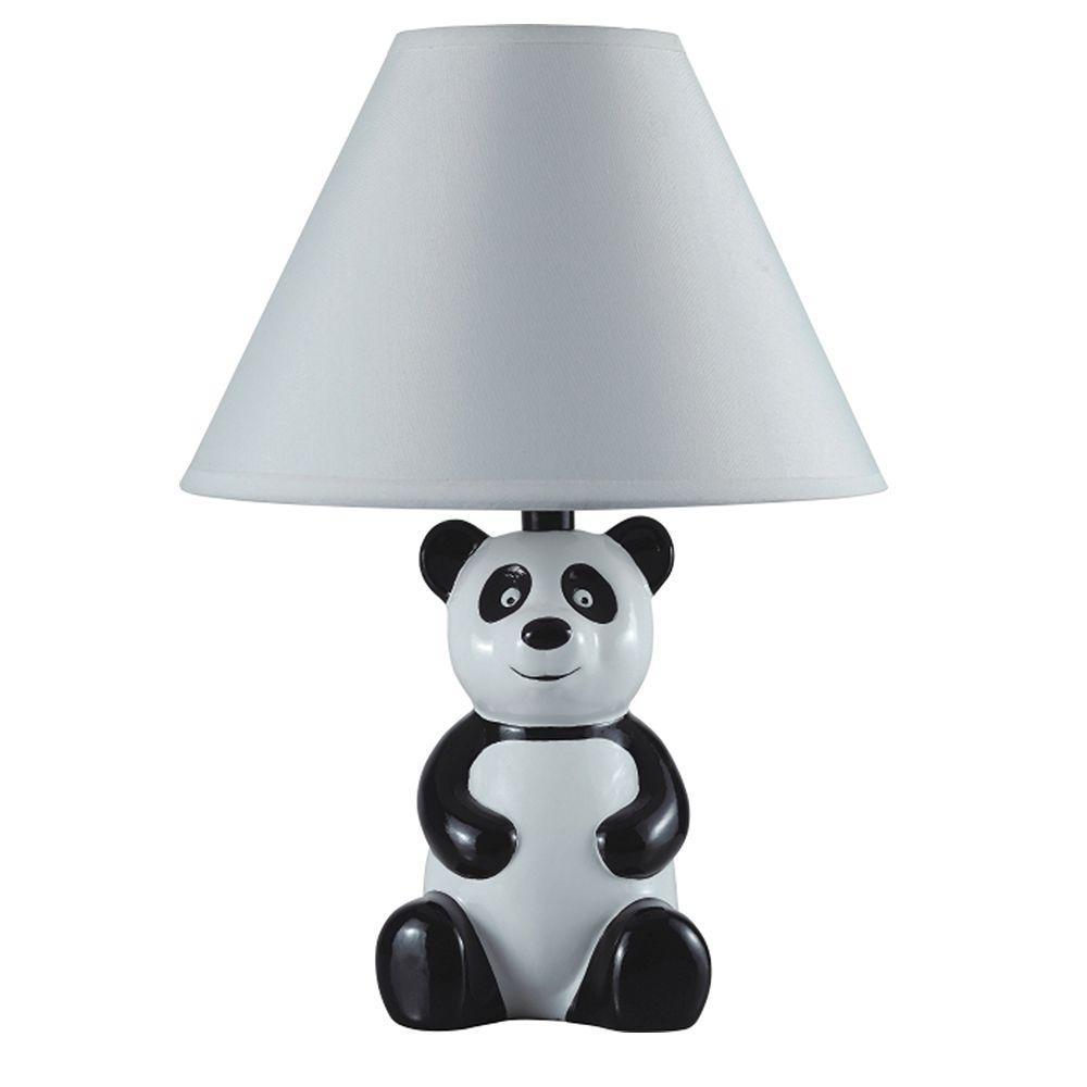 ORE International 14 In. Black And White Ceramic Table Panda Kidu0027s Lamp