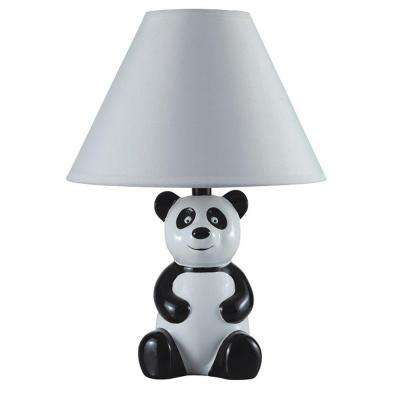 14 in. Black and White Ceramic Table Panda Kid's Lamp