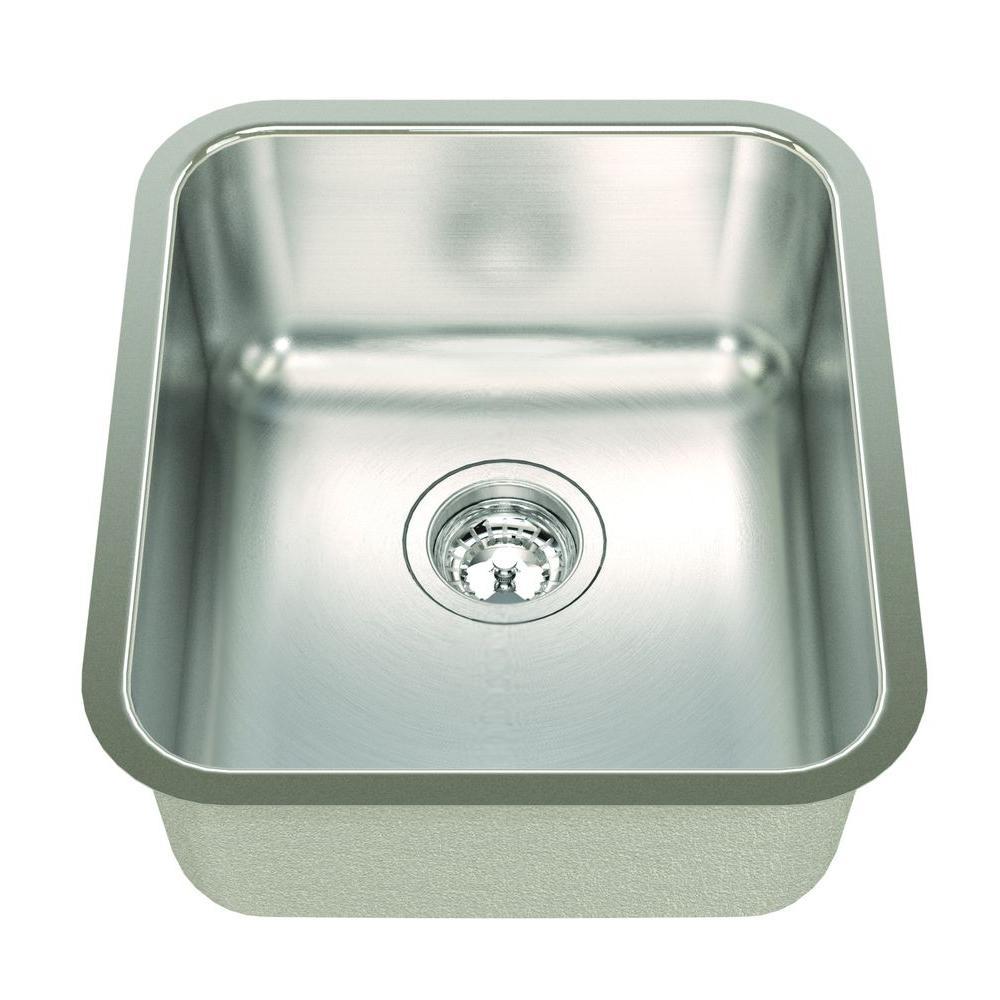ECOSINKS Acero Combo Undermount Stainless Steel 16-1/8x18-1/8x8 0-Hole Single Basin Kitchen Sink with Satin Finish-DISCONTINUED