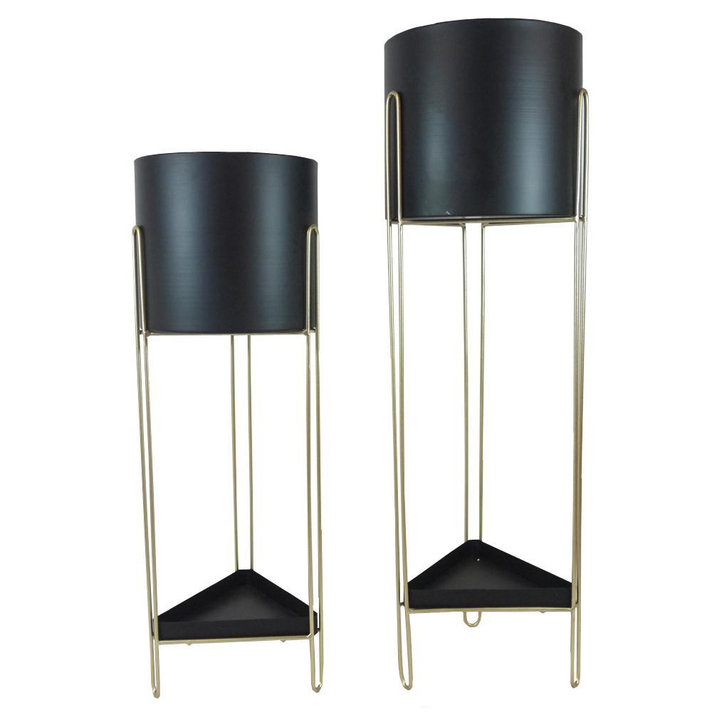 Black Gold Cylinder/Triangle Plant Pot, Mid Century Flower Pot Holder Stand Indoor Display Rack, Set of 2