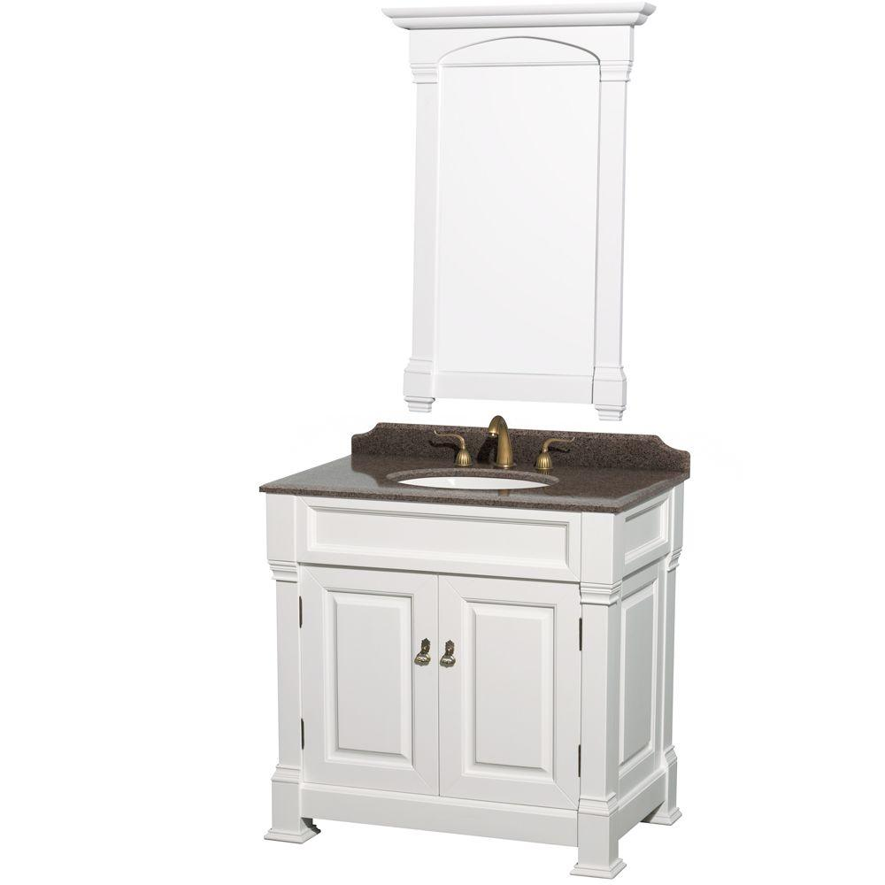 Wyndham Collection Andover 36 in. W x 23 in. D Vanity in White with Granite Vanity Top in Imperial Brown with White Basin and 28 in. Mirror
