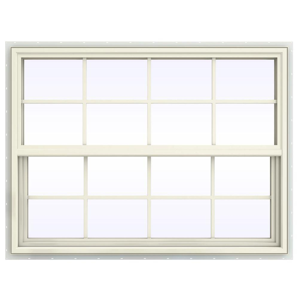 JELD-WEN 47.5 in. x 35.5 in. V-4500 Series Single Hung Vinyl Window with Grids - Yellow