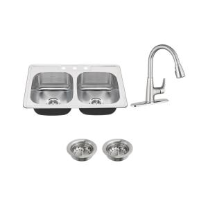 american standard colony all in one drop in stainless steel 33 in  3 hole 50 50 double bowl kitchen sink with faucet in stainless steel 7729001 075   the     american standard colony all in one drop in stainless steel 33 in      rh   homedepot com