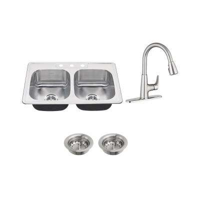 Colony All-in-One Drop-In Stainless Steel 33 in. 3-Hole 50/50 Double Bowl Kitchen Sink with Faucet in Stainless Steel