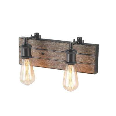 3-Light Bronze Wood Wall Vanity Light