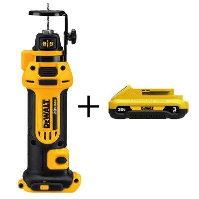 20-Volt MAX Lithium-Ion Cordless Drywall Cut-Out Tool with Bonus Compact Battery Pack 3.0 Ah