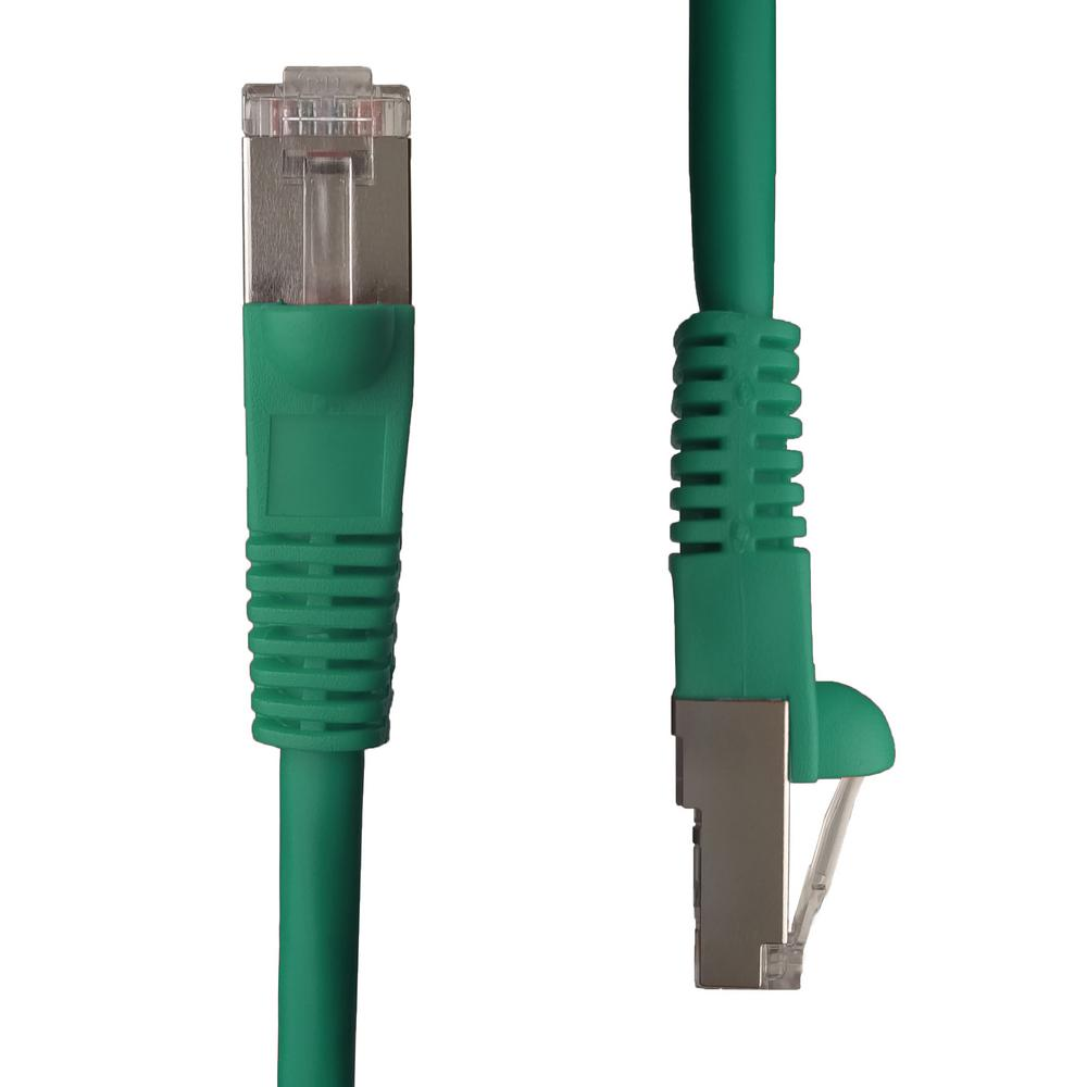 ntw 1 ft cat5e snagless shielded stp network patch cable green 345 s5e 001gn the home depot. Black Bedroom Furniture Sets. Home Design Ideas