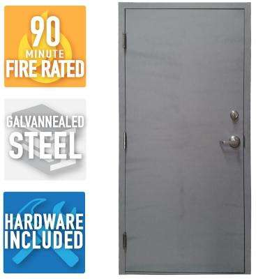 36 in. x 80 in. Fire-Rated Gray Right-Hand Flush Steel Commercial Door with Welded Frame, Deadlock and Hardware