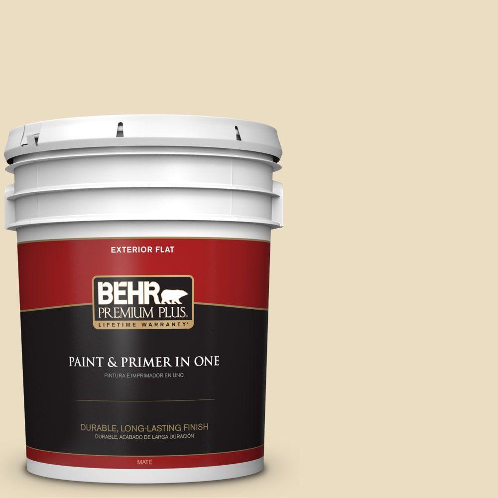 BEHR Premium Plus 5-gal. #ECC-23-1 Golden Haystack Flat Exterior Paint
