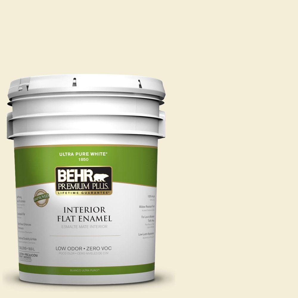 BEHR Premium Plus 5-gal. #W-D-420 Beach White Zero VOC Flat Enamel Interior Paint-DISCONTINUED