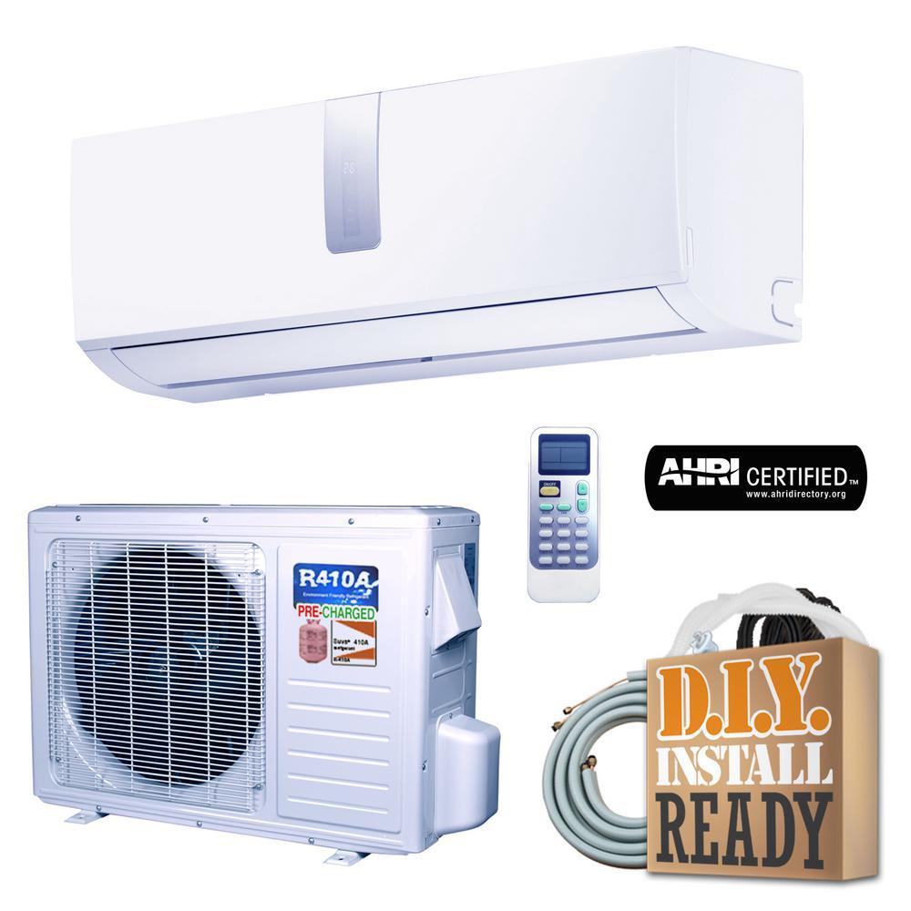 Super Efficiency 9,000 BTU 3/4+ Ton Inverter Ductless Mini Split Air Conditioner and Heat Pump - 110V/60Hz
