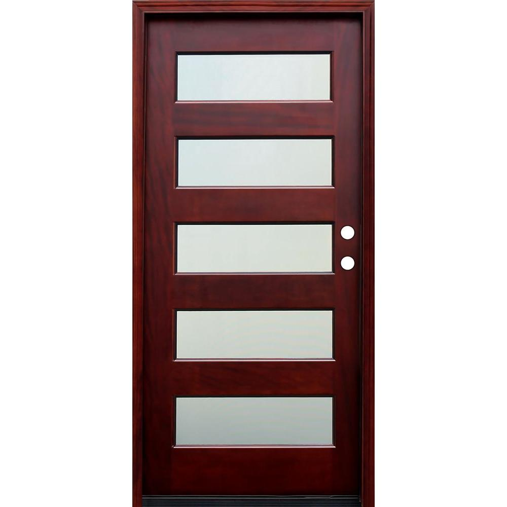 36 in. x 80 in. Contemporary 5 Lite Mist Lite Stained