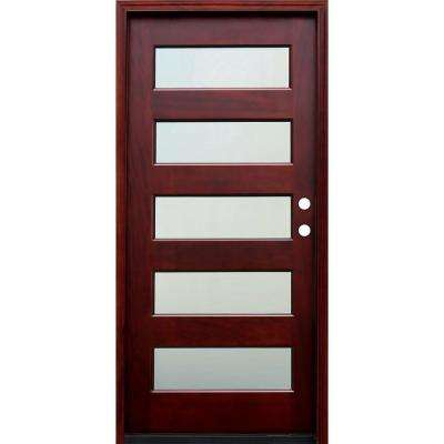 36 in. x 80 in. Contemporary 5 Lite Mist Lite Stained Mahogany Wood Prehung Front Door with 6 Wall Series