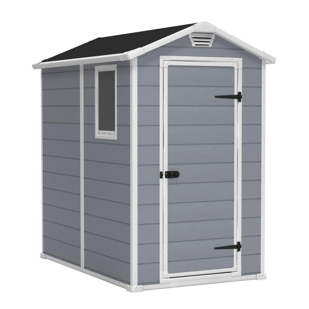 Keter Manor 4 ft. x 6 ft. Outdoor Storage Shed, Beige/Ivory