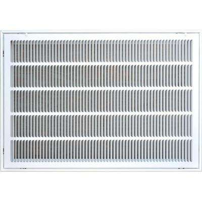 20 in. x 30 in. Return Air Vent Filter Grille, White with Fixed Blades