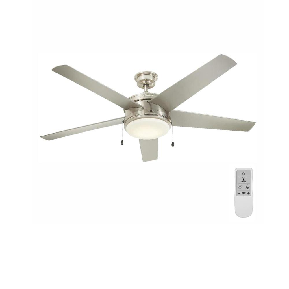 Home Decorators Collection Portwood 60 in. LED Brushed Nickel Ceiling Fan and WiFi Remote Control works with Google and Alexa