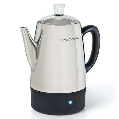 10-Cup Stainless Steel Percolator with Keep Warm Function