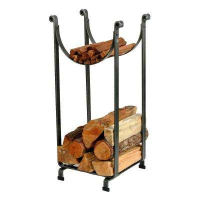 Sling Log Rack with Hammered Steel Finish