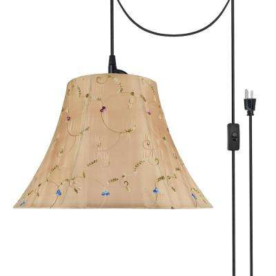 2-Light Black Plug-In Swag Pendant with Gold Bell Fabric Shade