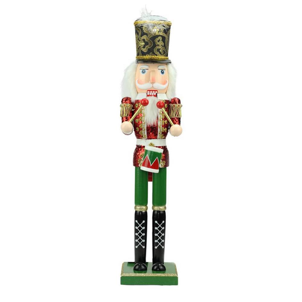 Red, Green and Gold Wooden Christmas Nutcracker Drummer