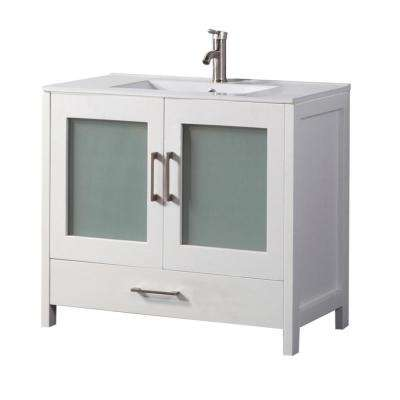 Arezzo 48 in. W x 18 in. D x 36 in. H Vanity in White with Porcelain Vanity Top in White with White Basin