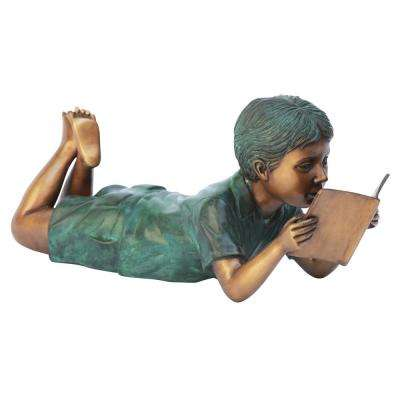 7 in. H Bookworm Boy Garden Reader Bronze Statue