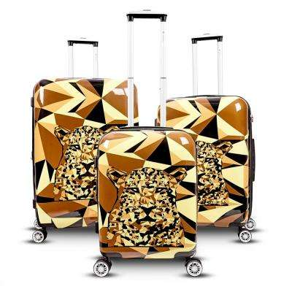 Safari 3-Piece Upright Hardside Spinner Luggage Set in Leopard
