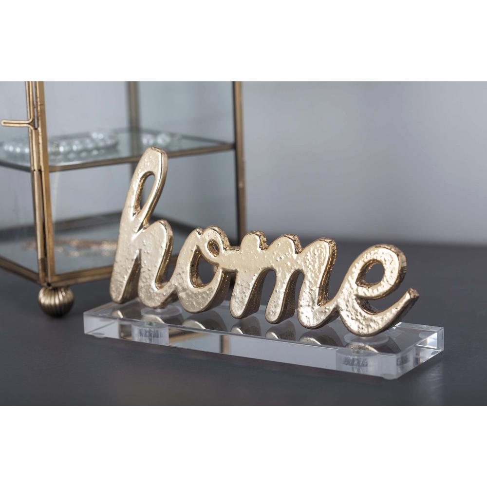 """6 in. x 3 in. Modern """"Home"""" Gold and Silver Aluminum"""