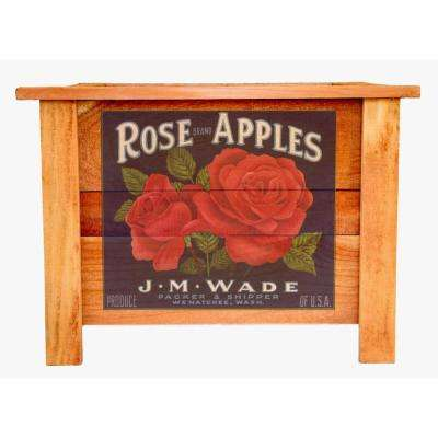 22 in. Cedar Wood Planter Box with Vintage Rose Apples Art