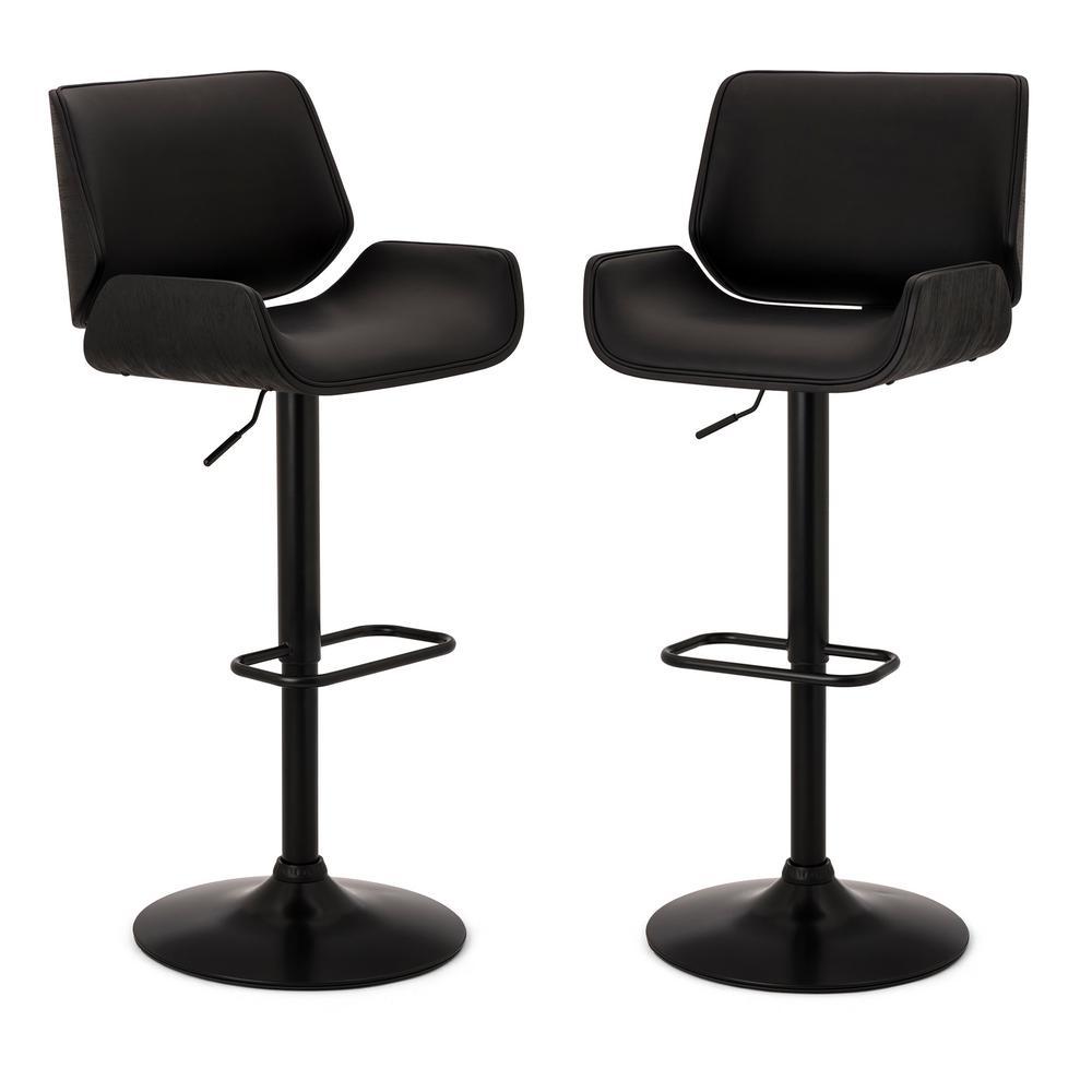 Mid-century Black Modern Adjustable Height Swivel Bar Stool (Set of 2)