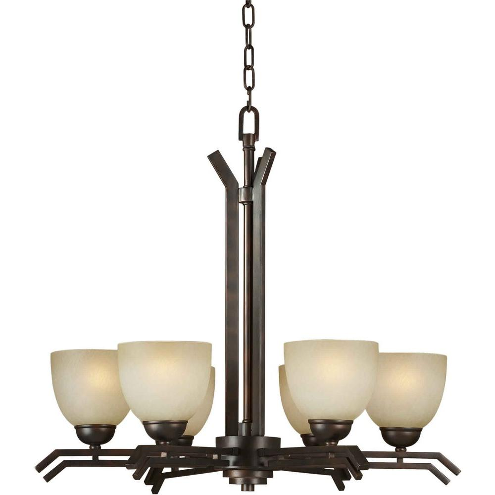 Talista 6-Light Antique Bronze Chandelier with Umber Mist Glass